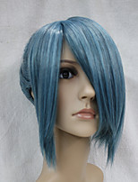peluca corta el pelo sintético ponytal japonés de alta calidad nilo-azul negro mezcla de anime traje de cosplay