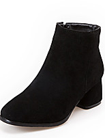 Women's Boots Winter Bootie / Round Toe Dress Chunky Heel Zipper Black / Gray / Beige Others