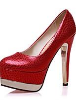 Mujer-Tacón Stiletto-Tacones / Punta Redonda-Tacones-Oficina y Trabajo / Casual-PU-Negro / Rojo / Oro
