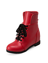 Damen-Stiefel-Lässig-Kunstleder-Keilabsatz-Modische Stiefel-Schwarz / Rot / Weiß