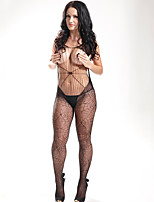 Women Black Conjoined Tight Hollow Striped Cross Print Fishnets Temptation Stockings  Lingerie