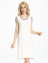 ADEAST Women's Casual/Daily / Work Vintage / Simple / Street chic Loose Dress,Solid Round Neck Knee-length Sleeveless