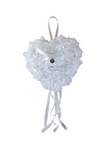 Pure White Rose Flower with Crystal Decoration Hanging Ring Pillow for Wedding Party(24*26cm)