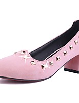 Women's Shoes Fleece Summer/ Round Toe Heels Office & Career / Casual Chunky Heel Sequin Black / Pink / Red
