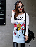 Women's Going out / Casual/Daily / Holiday Vintage / Cute / Street chic Regular Hoodies,Print / Letter Round Neck