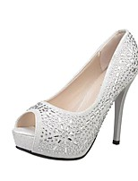Черный / Белый-Женский-Свадьба / Для офиса / На каждый день-Дерматин-На шпильке-На каблуках / С открытым носком-Обувь на каблуках
