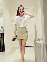 Boutique S Women's Casual/Daily Street chic Summer Set Skirt,Print Shirt Collar Short Sleeve White Cotton Thin