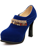 Women's Heels Spring / Summer / Fall Heels / Round Toe Leatherette Outdoor / Casual Chunky Heel ZipperBlack / Blue