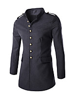Men's Military Style Slim Badges Woolen Coat,Cotton / Polyester Long Sleeve-Black / Gray
