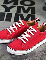 Черный / Красный / Белый-Мужской-На каждый день-Полотно-На плоской подошве-Удобная обувь / С круглым носком-Кеды