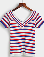 Women's Going out Street chic Regular Pullover,Striped / Rainbow Pink / Red / Black V Neck Short Sleeve Cotton Spring