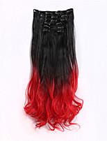 ombre extensiones de cabello clip en pelucas sintéticas rectas 24inches 60cm 7pcs 1piece / set gradiente de moda rampa de color