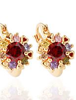 1pair/red/white/goldHoop Earrings