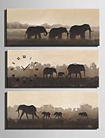 Moderno/Contemporaneo Animali Orologio da parete,Rettangolare Tela 30 x 60cm(12inchx24inch)x3pcs/ 40 x 80cm(16inchx32inch)x3pcs Al Coperto
