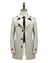 Men's Solid Casual / Formal / Plus Sizes Trench coat,Bamboo Fiber / Polyester Long Sleeve-Black / Blue / Brown