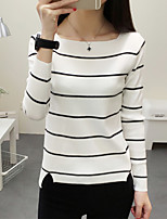 Women's Going out / treet chic Regular Pullover,Striped Pink / White / Black / Gray Round Neck Long SleeveSpring /