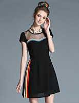 Plus Size Women Sexy SeeThrough Embroidered Lace Patchwork Pleat Color Block Elegant Dress