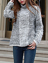 Women's Casual/Daily Street chic Regular Pullover,Color Block Beige / Gray Turtleneck Long Sleeve Acrylic Fall Medium