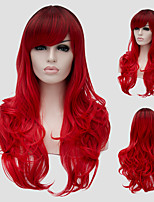 Red wavy hair and the wind nightclub performances Street color million with a partial wig.
