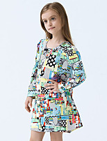 Girl's Cotton Spring/Autumn Cute Abstract Print Long Sleeve Princess Dress