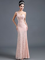 Formal Evening Dresses Trumpet / Mermaid One Shoulder Floor-length Lace with Lace / Side Draping / Crystal Brooch
