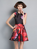 Boutique S Women's Party/Cocktail Vintage  Dress,Floral Round Neck Above Knee Sleeveless Purple Others Summer