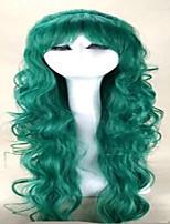 sin tapa pelucas verdes larga peluca del traje de la mujer pelucas de pelo sintético ondulado