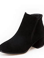 Women's Boots Winter Bootie / Square Toe Dress Chunky Heel Zipper Black / Gray / Beige Others