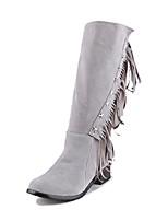 Черный / Желтый / Красный / Серый-Женский-Для праздника-Дерматин-На толстом каблуке-Модная обувь-Ботинки