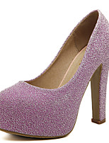 Women's Heels Fall Heels / Round Toe PU Casual Chunky Heel Others Black / Purple / Silver Others