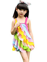 Girl's Going out Rainbow Dress,Cotton Summer Red