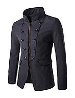 Men's Palace Wind Slim Short Paragraph Woolen Coat,Cotton / Polyester Long Sleeve-Black / Gray