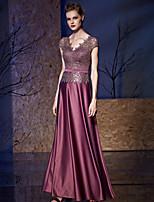 Formal Evening Dress A-line V-neck Floor-length Satin / Sequined with Sash / Ribbon / Sequins