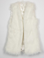 Women's Plus Size / Casual/Daily / Party/Cocktail Simple Fur Coat,Solid V Neck Sleeveless Fall / Winter White /