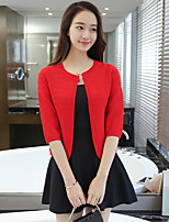 Women's Casual/Daily Simple Cardigan,Blue / Pink / Red / Black / Gray Round Neck ½ Length Sleeve Cotton Fall Medium