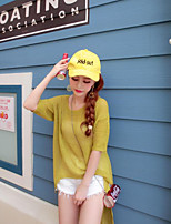 Women's Going out / Casual/Daily Simple Long Pullover,Solid Yellow Round Neck ½ Length Sleeve Cotton
