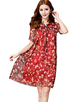 Women's Plus Size/Going out/Casual/Daily A Line Dress V Neck Short Sleeve Above Knee Printing Slim Dress