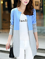 Women's Going out / Casual/Daily Street chic Regular Cardigan,Color Block Blue / Pink / Gray / Green