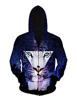 3D  Hoodie Long Sleeve Starry Sky Tiger Printing Clothing