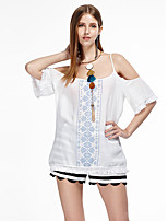 Women's Going out Simple Summer T-shirt,Geometric Strap ½ Length Sleeve White Cotton Thin