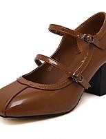 Damen-High Heels-Lässig-Lackleder-Blockabsatz-Absätze / Rundeschuh-Schwarz / Kaffee