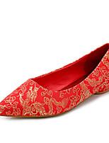 Damen-Flache Schuhe-Hochzeit-Baumwolle-Flacher Absatz-Komfort / Rundeschuh / Geschlossene Zehe-Rot