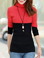 Damen Standard Pullover-Ausgehen / Lässig/Alltäglich Street Schick Einfarbig Rot / Grün / Gelb Rollkragen Langarm BaumwolleFrühling /