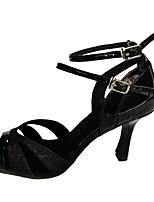 Chaussures de danse(Noir) -Non Personnalisables-Talon Aiguille-Similicuir / Paillette Brillante-Latine / Salsa