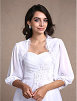 Women's Wrap Shrugs 3/4-Length Sleeve Chiffon / Lace White Wedding / Party/Evening / Casual Scoop Lace Open Front