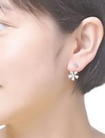Серьга В форме цветка Бижутерия 1 пара Мода Повседневные Серебрянное покрытие Женский Серебряный