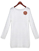 Women's Solid White Pullover,Street chic Long Sleeve