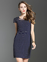 ES·DANNUO Women's Simple Striped Bodycon Dress,Round Neck Mini Cotton