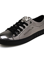Herren-Sneaker-Lässig-PU-Flacher Absatz-Rundeschuh-Schwarz / Silber / Gold