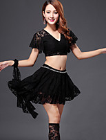 Belly Dance Outfits Women's Performance Lace 4 Pieces Black / Fuchsia / Green / Pink / Red Top / Skirt Belt Not Include
